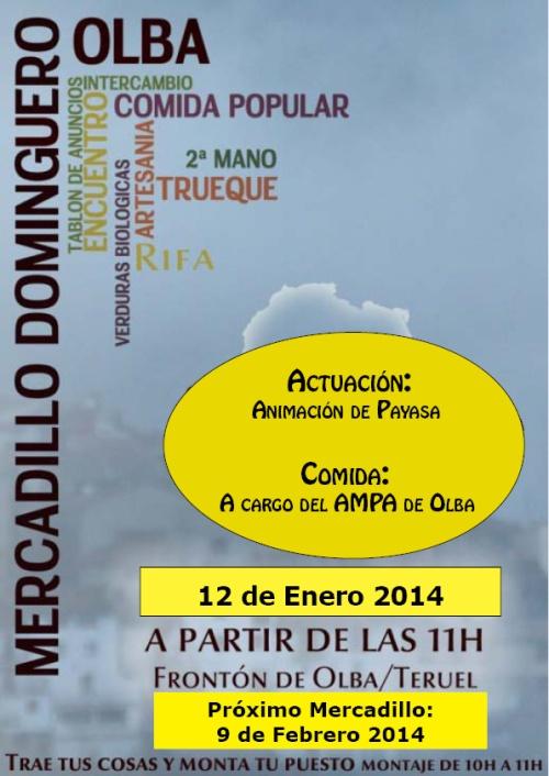 Cartel mercadillo dominguero en Olba el 12 de enero de 2014