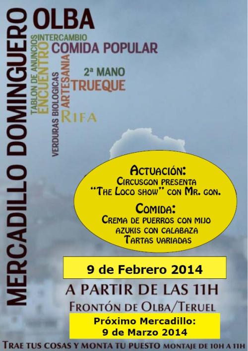 Cartel del mercadillo dominguero, el 9 de febrero de 2014, en Olba - Teruel.