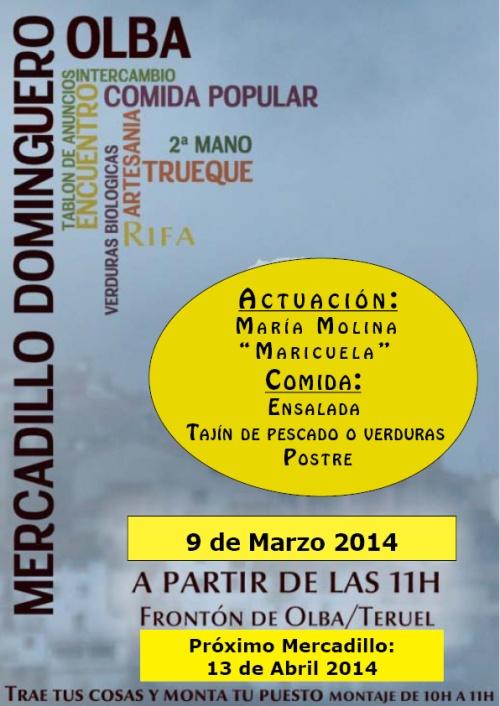cartel mercadillo de Olba el 9 de marzo