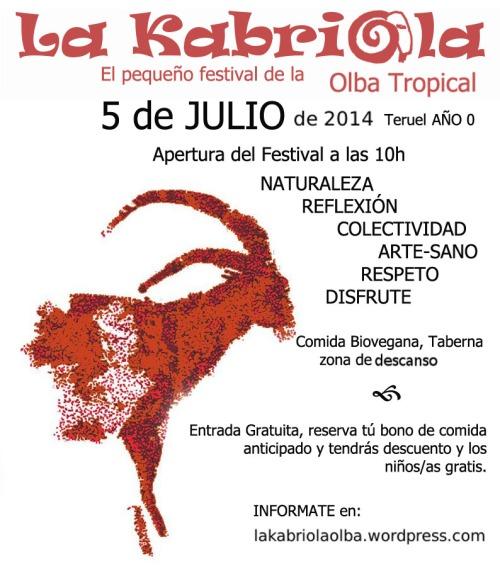 Festival La Kabriola, el 5 de Julio en Olba - Teruel.